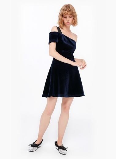 Twist Tek Omuz Kadife Elbise Lacivert